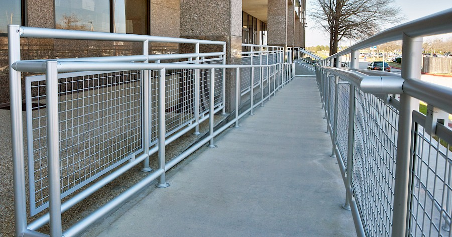 ADA Railing with Wire Mesh Infill Panels