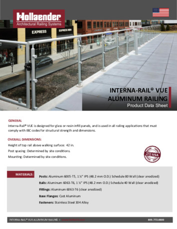 Interna‐Rail® VUE Railing System Product Data