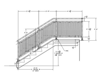 Interna-Rail® Stair with Perforated Infill Panels